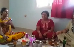 Village Aunties enjoying league together with wine than having it away with her husbands... HD