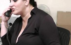 Sex-mad co-worker fucks BBW