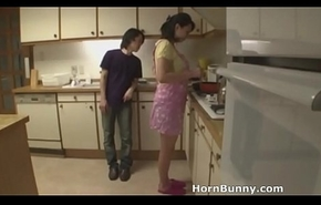 Asian mom together with son